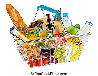 vrijstaand, boodschappenmand, gevulde, met, voedingsmiddelen