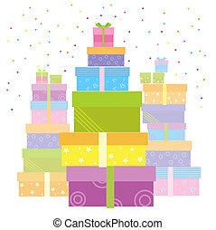 vrijstaand, boxes., cadeau, vector, kadootjes, witte