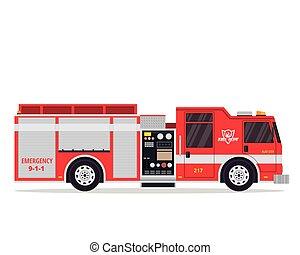 vrijstaand, brandweerman, vrachtwagen, plat, illustratie, moderne
