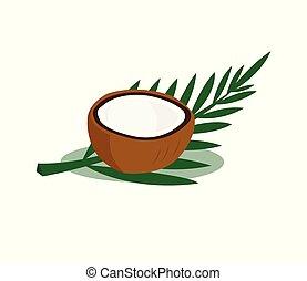 vrijstaand, bruine , bladeren, witte , achtergrond., cocosnoot