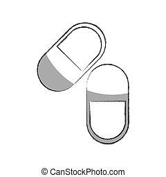 vrijstaand, capsule, medisch, pictogram