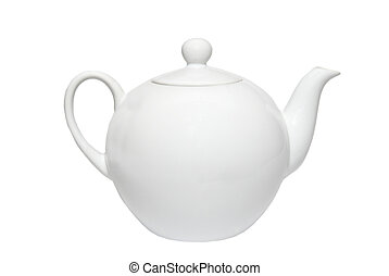 vrijstaand, china teapot, white.