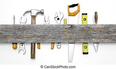 vrijstaand, copy-space, hout, gevarieerd, witte , ...