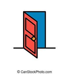 vrijstaand, deur open, pictogram, woning