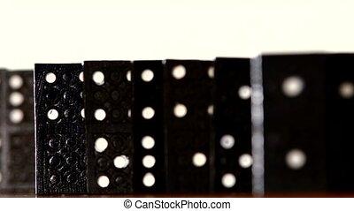 vrijstaand, dynamisch, brandpunt, domino, witte , veranderen