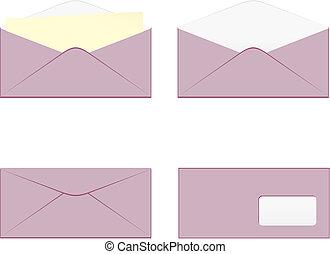 vrijstaand, enveloppen, gekleurde