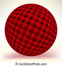 vrijstaand, eps, bol, white., 8, rood, glanzend