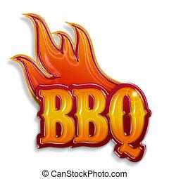 vrijstaand, etiket, warme, achtergrond, barbecue, witte