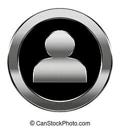 vrijstaand, gebruiker, achtergrond, zilver, witte , pictogram