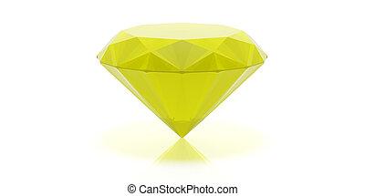 Vrijstaand, gele, illustratie, witte,  gemstone,  3D