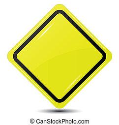 Vrijstaand, gele, meldingsbord, achtergrond, leeg, witte