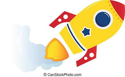 vrijstaand, gele, spotprent, vliegen, raket, witte