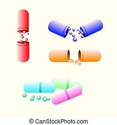 vrijstaand, gesloten, geneeskunde, capsule., witte , open
