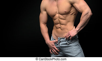 vrijstaand, gespierd, zwarte achtergrond, mannelijke , torso