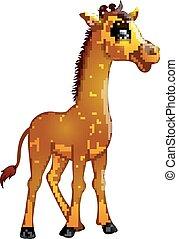 vrijstaand, giraffe, achtergrond, witte , spotprent, vrolijke