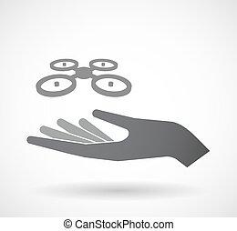 vrijstaand, hand, met, een, quadcopter, neuriën