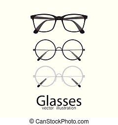 vrijstaand, illustratie, achtergrond., vector, witte , bril
