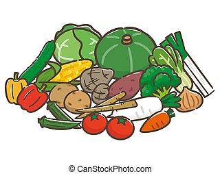 vrijstaand, illustratie, achtergrond, witte , groentes