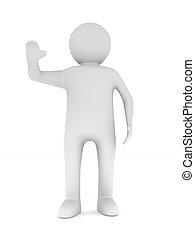 vrijstaand, illustratie, achtergrond., witte , man, 3d