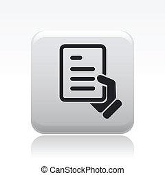 vrijstaand, illustratie, enkel, vector, document, pictogram