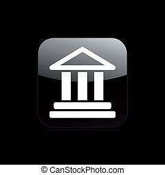 vrijstaand, illustratie, enkel, vector, tempel, pictogram