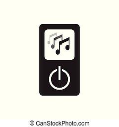 vrijstaand, illustratie, speler, muziek, achtergrond, witte , pictogram