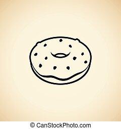 vrijstaand, illustratie, vector, black , beige achtergrond, doughnut, pictogram