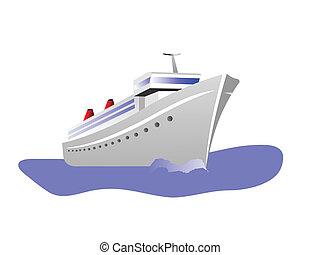 vrijstaand, illustratie, vector, cruiseschip, witte