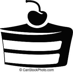 vrijstaand, illustratie, vector, zwarte achtergrond, taart, witte , pictogram