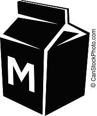 vrijstaand, illustratie, vector, zwarte achtergrond, witte , melk, pictogram