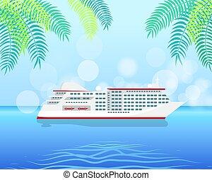 vrijstaand, illustratie, water, lux cruisen, witte , scheeps