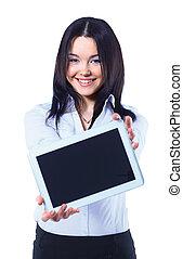 vrijstaand, jonge, zakenmens , het tonen, digitaal tablet