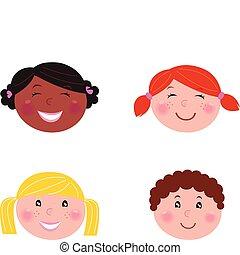 vrijstaand, -, kinderen, hoofden, multicultureel, witte