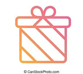 vrijstaand, kleurrijke, helling, vakantie, giftdoos, pictogram