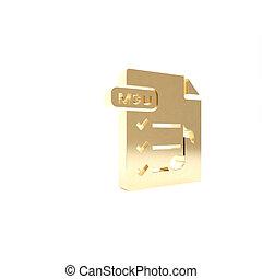vrijstaand, knoop, render, pictogram, 3d, goud, illustratie, achtergrond., symbool., downloaden, bestand, document., m3u, witte