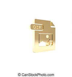vrijstaand, knoop, render, pictogram, 3d, goud, illustratie, achtergrond., symbool., downloaden, bestand, document., witte