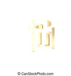 vrijstaand, knoop, render, pictogram, 3d, goud, illustratie, achtergrond., symbool., js, downloaden, bestand, document., witte