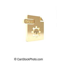 vrijstaand, knoop, render, pictogram, 3d, goud, max., achtergrond., symbool., illustratie, downloaden, bestand, document., witte