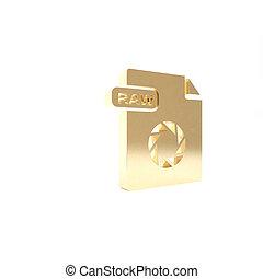 vrijstaand, knoop, render, pictogram, 3d, goud, rauwe, achtergrond., symbool., illustratie, downloaden, bestand, document., witte