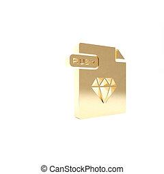 vrijstaand, knoop, render, pictogram, 3d, goud, robijn, illustratie, achtergrond., symbool., downloaden, bestand, document., witte