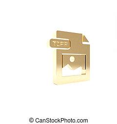 vrijstaand, knoop, render, pictogram, 3d, goud, tiff, achtergrond., symbool., illustratie, downloaden, bestand, document., witte