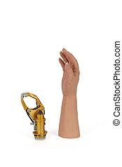 vrijstaand, kunstmatige hand, prothese, white., huid,...