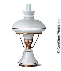 vrijstaand, lamp, vector, achtergrond, tafel, witte