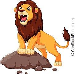 vrijstaand, leeuw, achtergrond, witte , gebrul, spotprent
