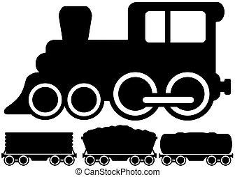 vrijstaand, locomotief, trein, en, auto
