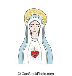 vrijstaand, maagd, hart, illustratie, maria