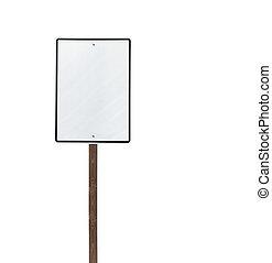vrijstaand, meldingsbord, hout, leeg, groot, witte , post
