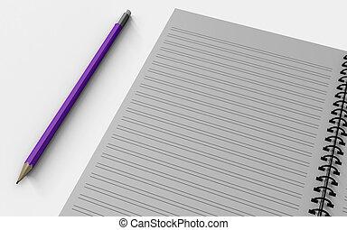 vrijstaand, merk papier op, white., leeg, pen.