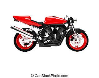 vrijstaand, motorfiets, zijaanzicht