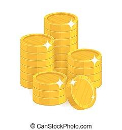 vrijstaand, muntjes, spotprent, goud, stapel